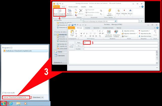Outlook 2010 arrancará y generará una nueva caché de alias vacía.