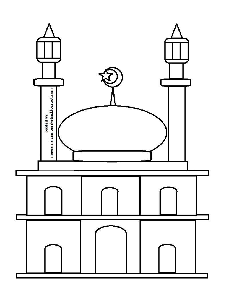 Mewarnai Gambar Sketsa Masjid 30