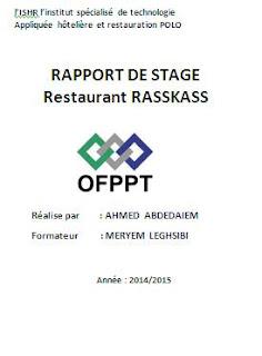 Exemple de rapport de stage en cuisine gratuit rapport for Stage de cuisine gratuit