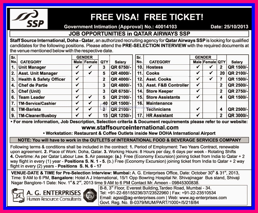 Job Opportunities In Qatar Airways Free Visa & Free Ticket ...
