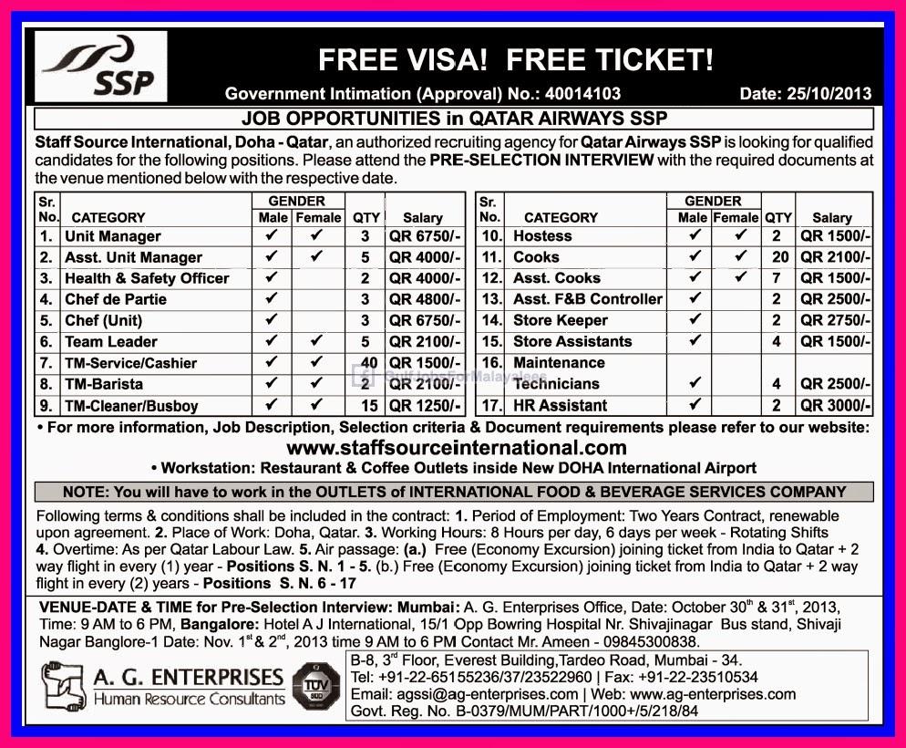 Job Opportunities In Qatar Airways Free Visa & Free Ticket