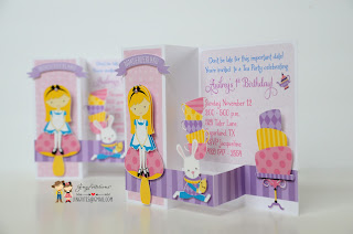 alice in wonderland party, handmade invitations