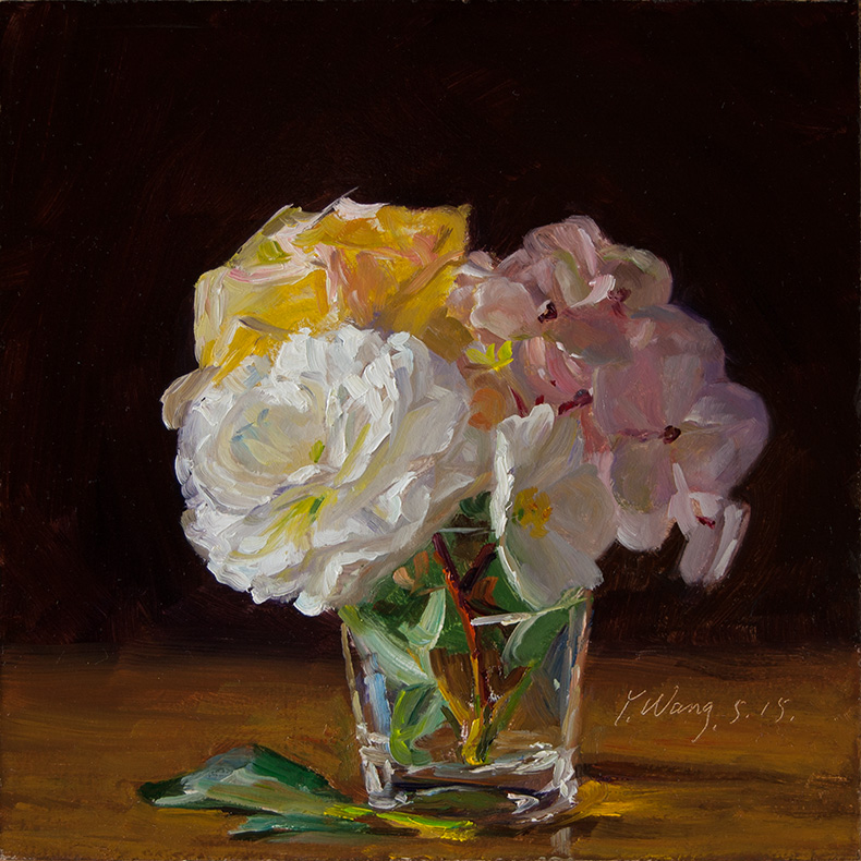 Wang Fine Art Rose Hydrangea Flower Still Life Oil Painting