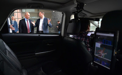 Vladimir Putin and a driverless car made by Yandex