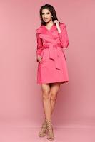 Trench cu buzunare LaDonna roz cu maneca lunga