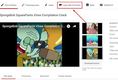 Cara Menambah Link Anotasi End Screen di Akhir Video Youtube 22