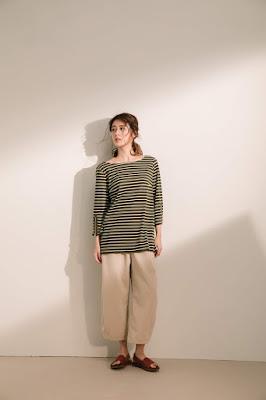 綠白條紋七分袖拉鍊長上衣