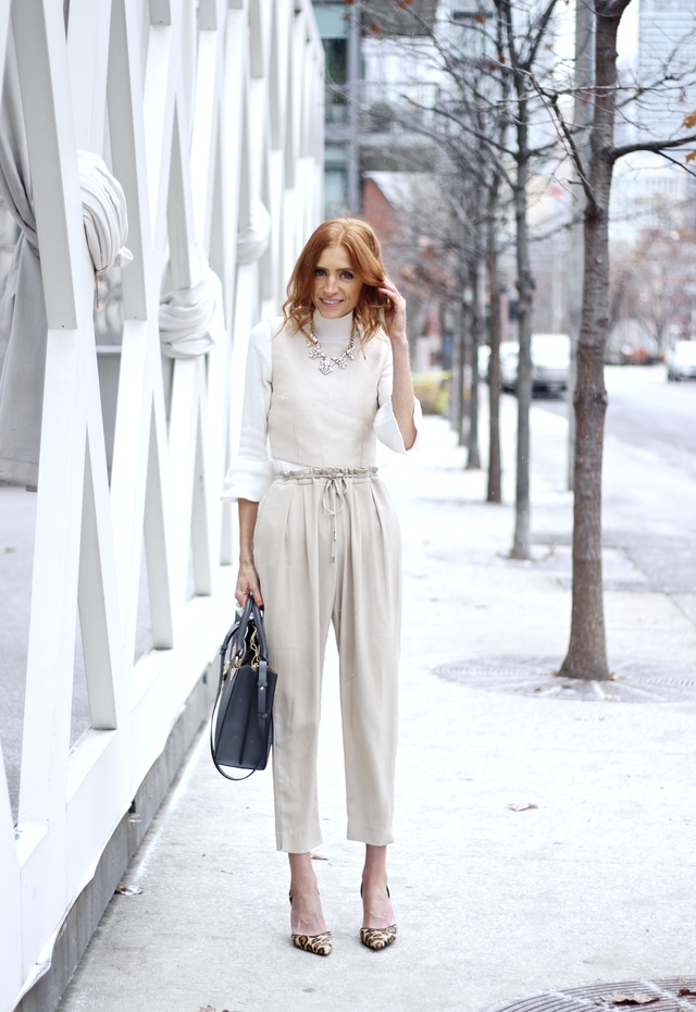 white monochrome in winter, Sophie Hulme Albion Tote, Zara ivory trouser, Bell sleeve turtleneck