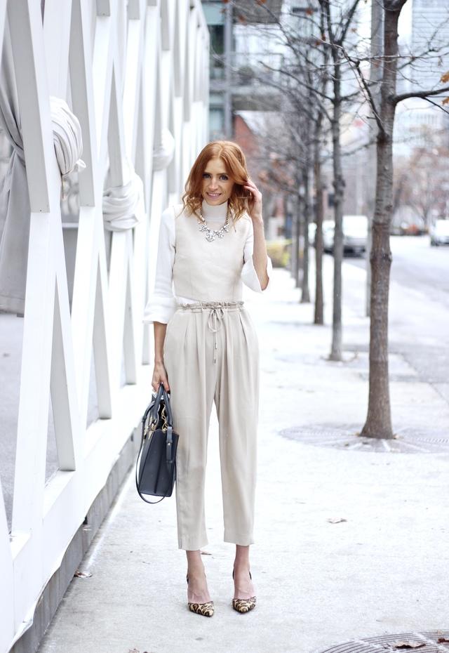 white monochrome in winter, Sophie Hulme Albion Tote, Zara ivory trouser, Bell sleeve turtleneck
