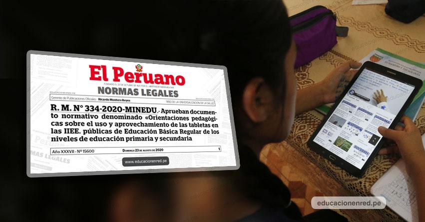 MINEDU publicó Anexos de la R. M. N° 334-2020-MINEDU, «Orientaciones pedagógicas sobre el uso y aprovechamiento de las tabletas en las instituciones educativas públicas»