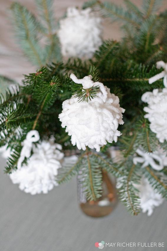 Yarn Snowball Ornaments