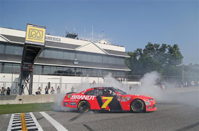 Justin Allgaier Celebrates with a Burnout After Winning the 'Johnsonville 180'