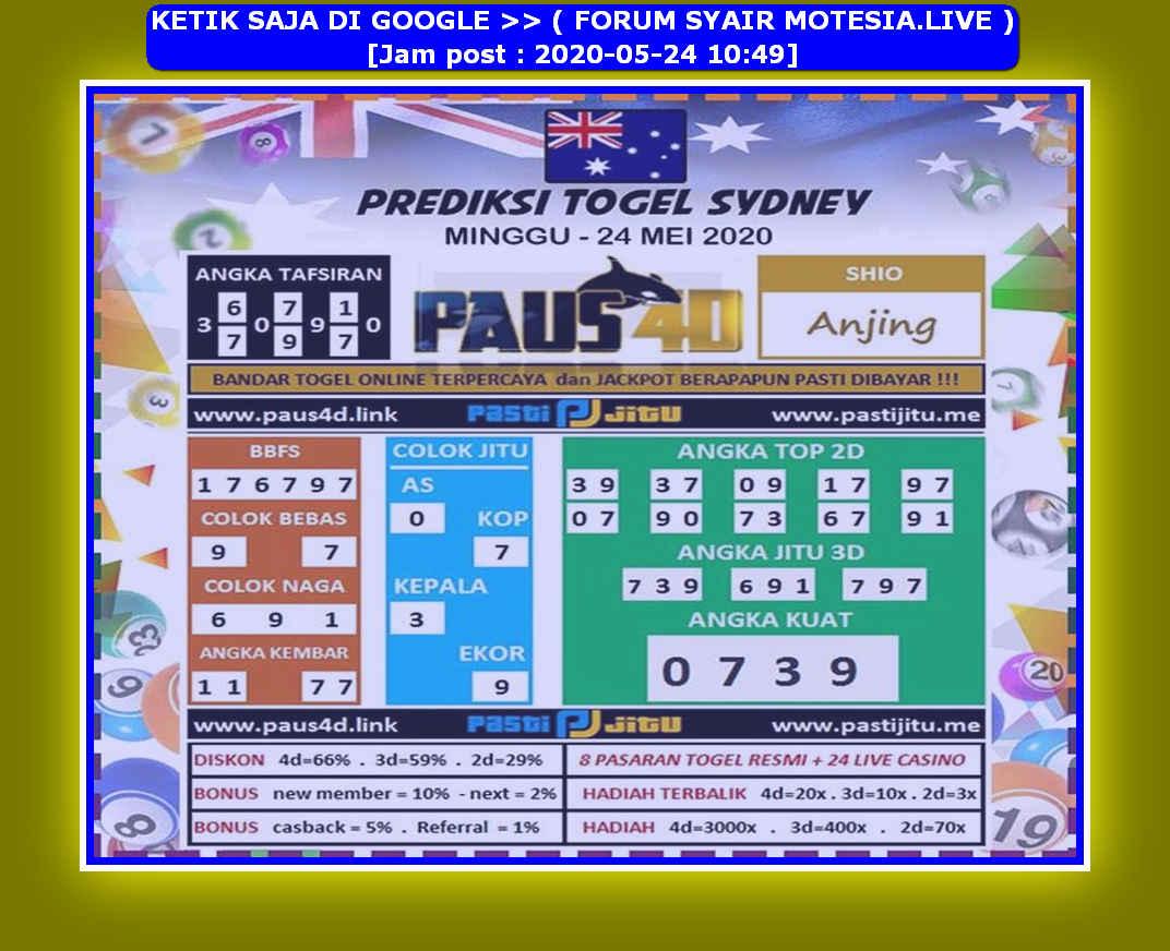 Kode syair Sydney Minggu 24 Mei 2020 96