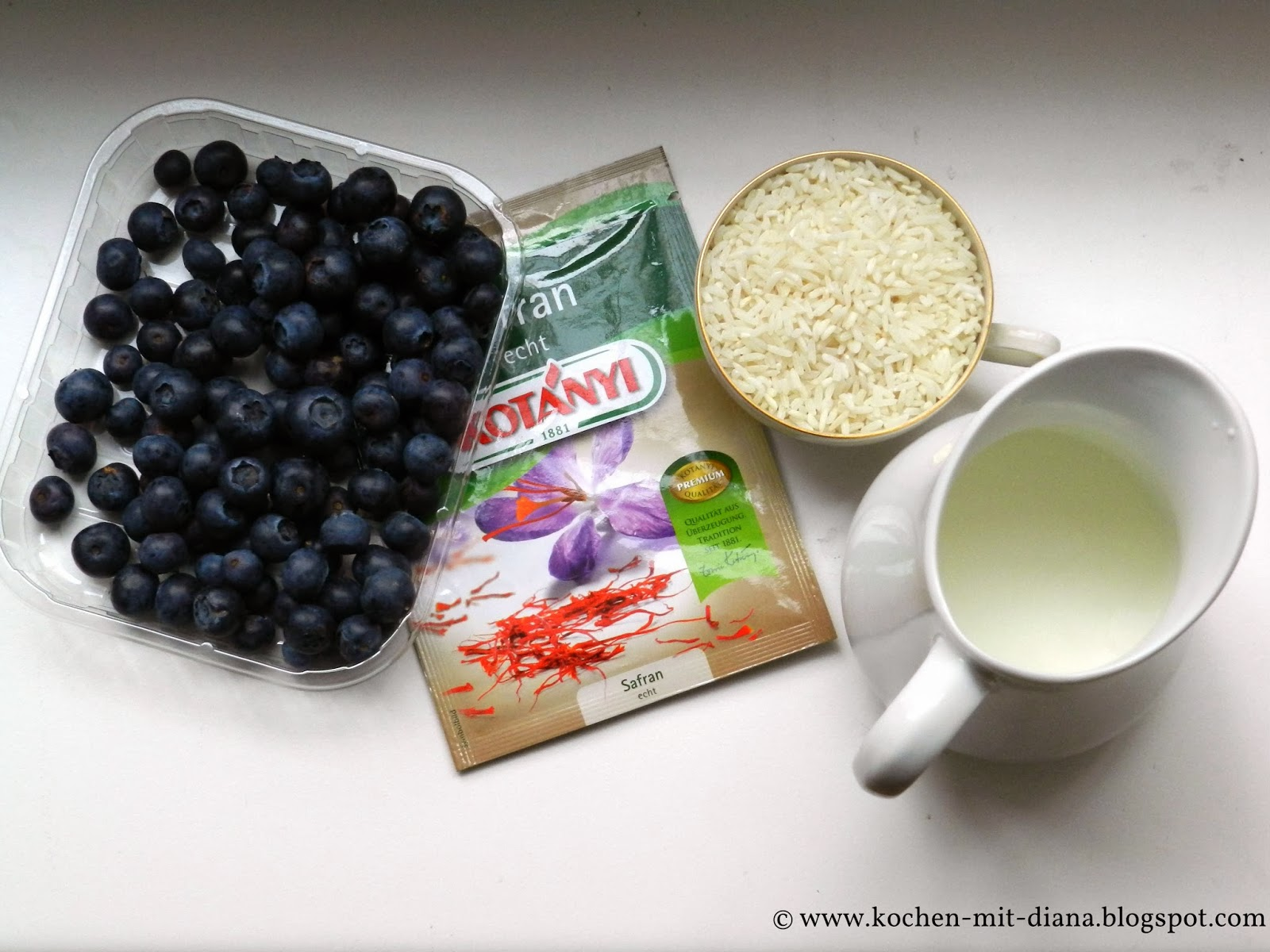 Zutaten Safran-Milchreis mit Heidelbeeren und Schokolade