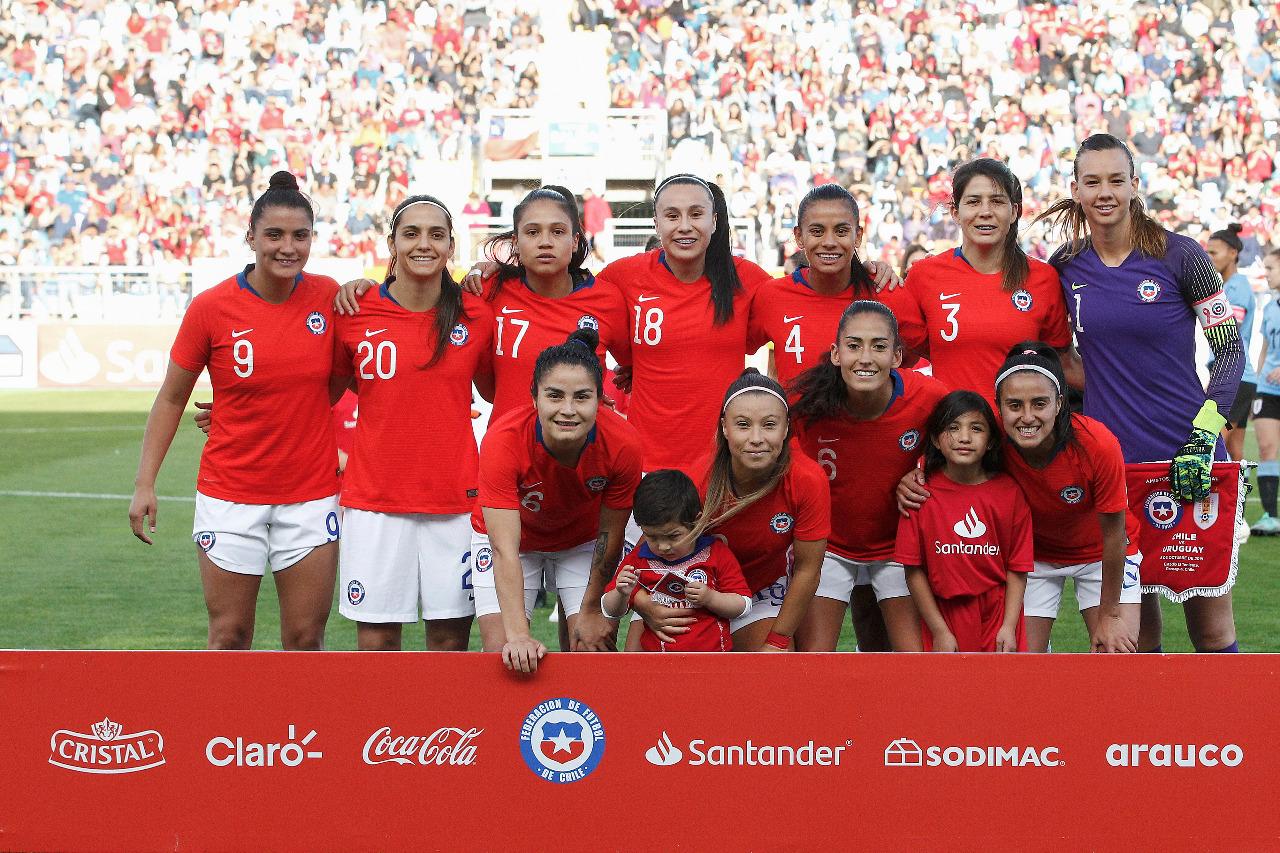 Formación de selección femenina de Chile ante Uruguay, amistoso disputado el 8 de octubre de 2019
