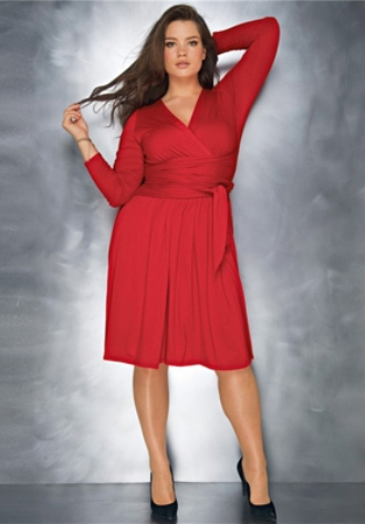 Domestic Sluttery Plus Size Shopping Lady In Red Dresses