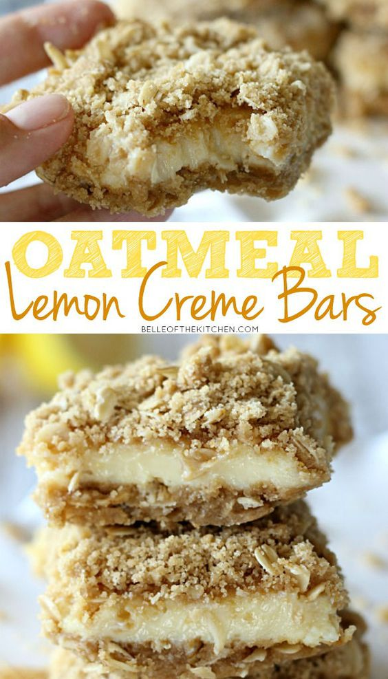 These Oatmeal Lemon Creme Bars are bound to be your new favorite! With a tart, yet sweet lemon filling and a streusel oatmeal topping, these are hard to put down!