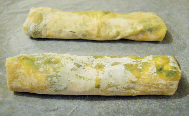 Two strudels prior to cooking.