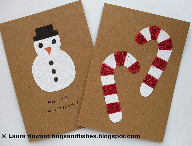 Glitter Christmas Cards.Bugs And Fishes By Lupin Diy Christmas Cards Advent Garland