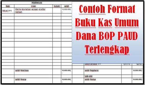 Contoh Format Buku Kas Umum Dana BOP PAUD Terlengkap