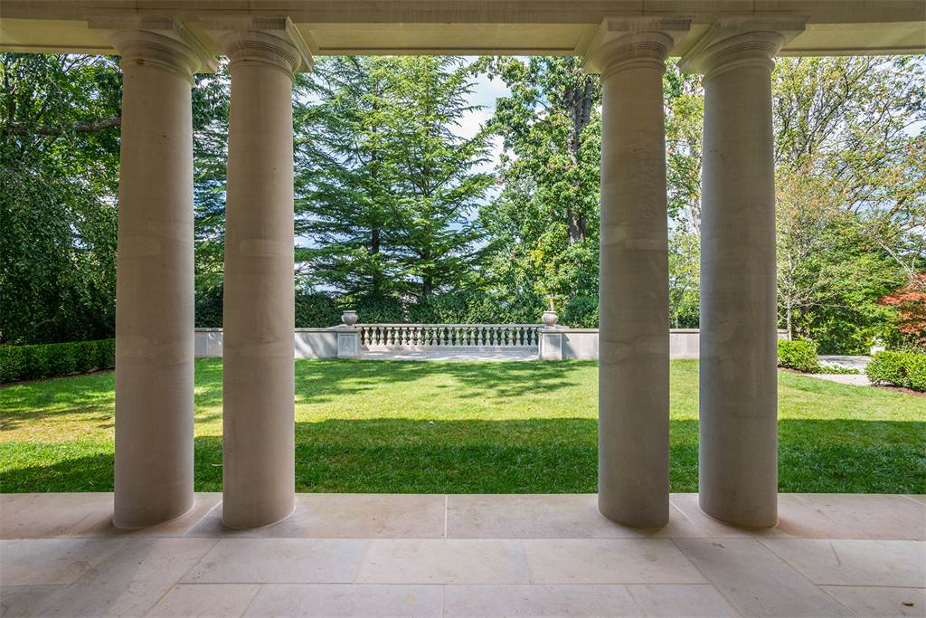 Limestone columns Washington DC luxury mansion Kalorama lawn exterior regency style limestone