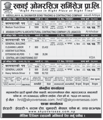 Jobs for Nepali in Saudi Arabia, Free Visa and Free Ticket Salary - Rs. 52,722/
