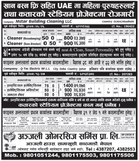 Jobs in UAE for Nepali, Salary Rs 41,270