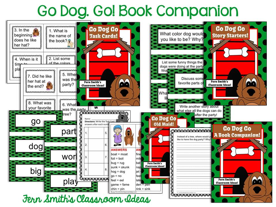 Fern Smith's Classroom Ideas Go, Dog! Go! By P.D. Eastman, A Cat in the Hat Beginner Book Book Companion Center Pack! 170 Pages! Interest Level Pre-K to 3rd Grade at TeacherspayTeachers