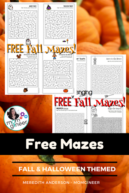 Fall and Halloween themed printable mazes. Great for working on fine motor skills for your reluctant writers! | Meredith Anderson - Momgineer