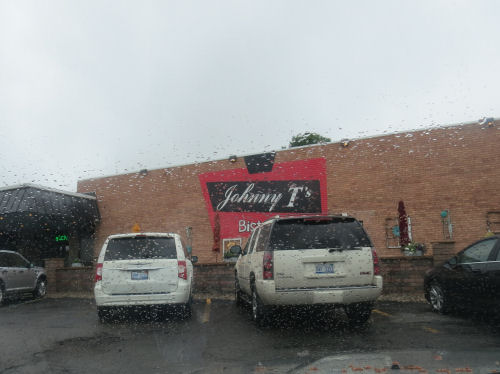 Johnny T's Bistro through rain covered windshield