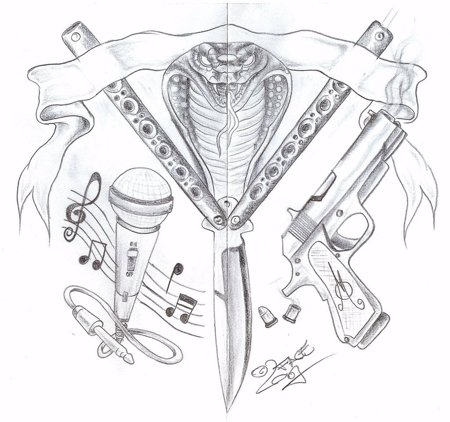 Hannikate  Shooter Gun Tattoos Designs