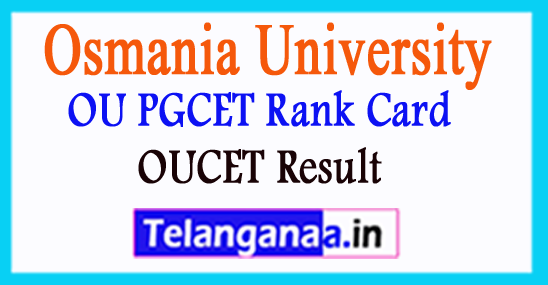 OUCET Result 2018 OU PGCET Rank Card