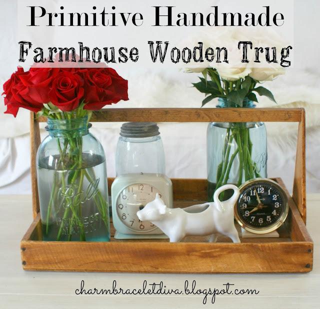 wooden flower trug mason jar vase roses cow creamer