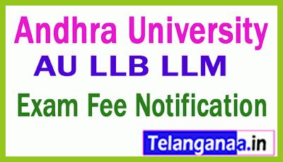 Andhra University LLB  / LLM  Exam Fee Notification