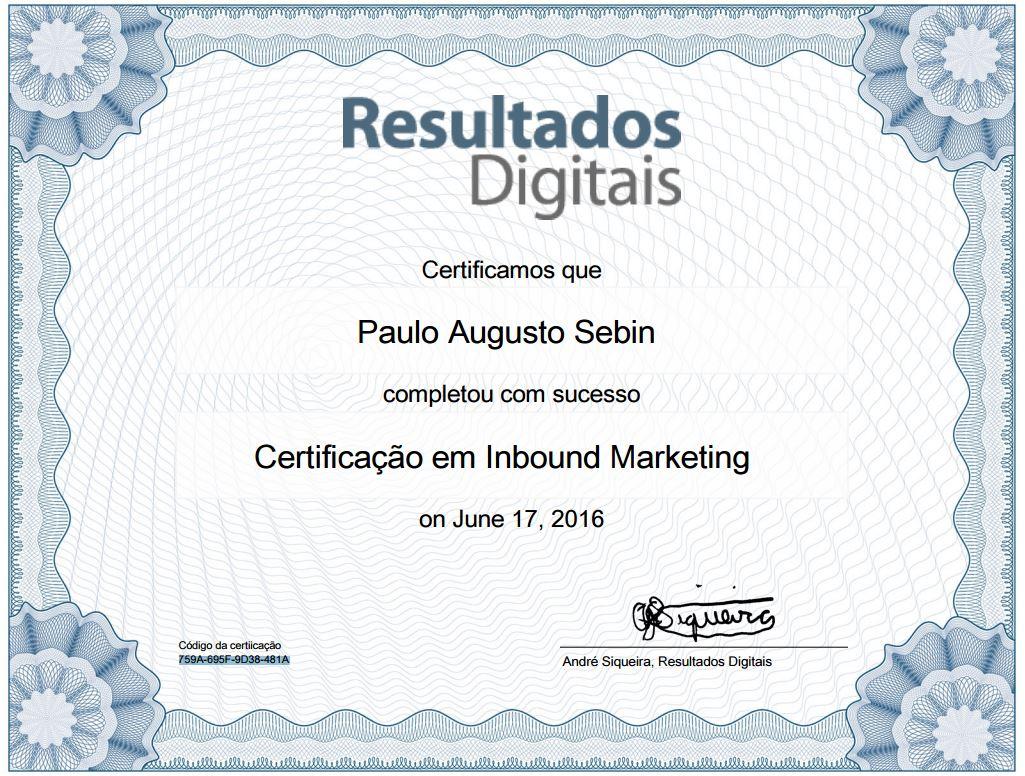 Certificado de Inbound Marketing - Paulo Augusto Sebin
