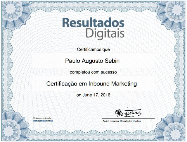 Certificado de Inbound Marketing - Paulo Augusto Sebin