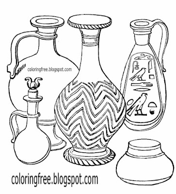 World first ancient culture create pottery Egyptian clay pot clipart black and white vessel coloring