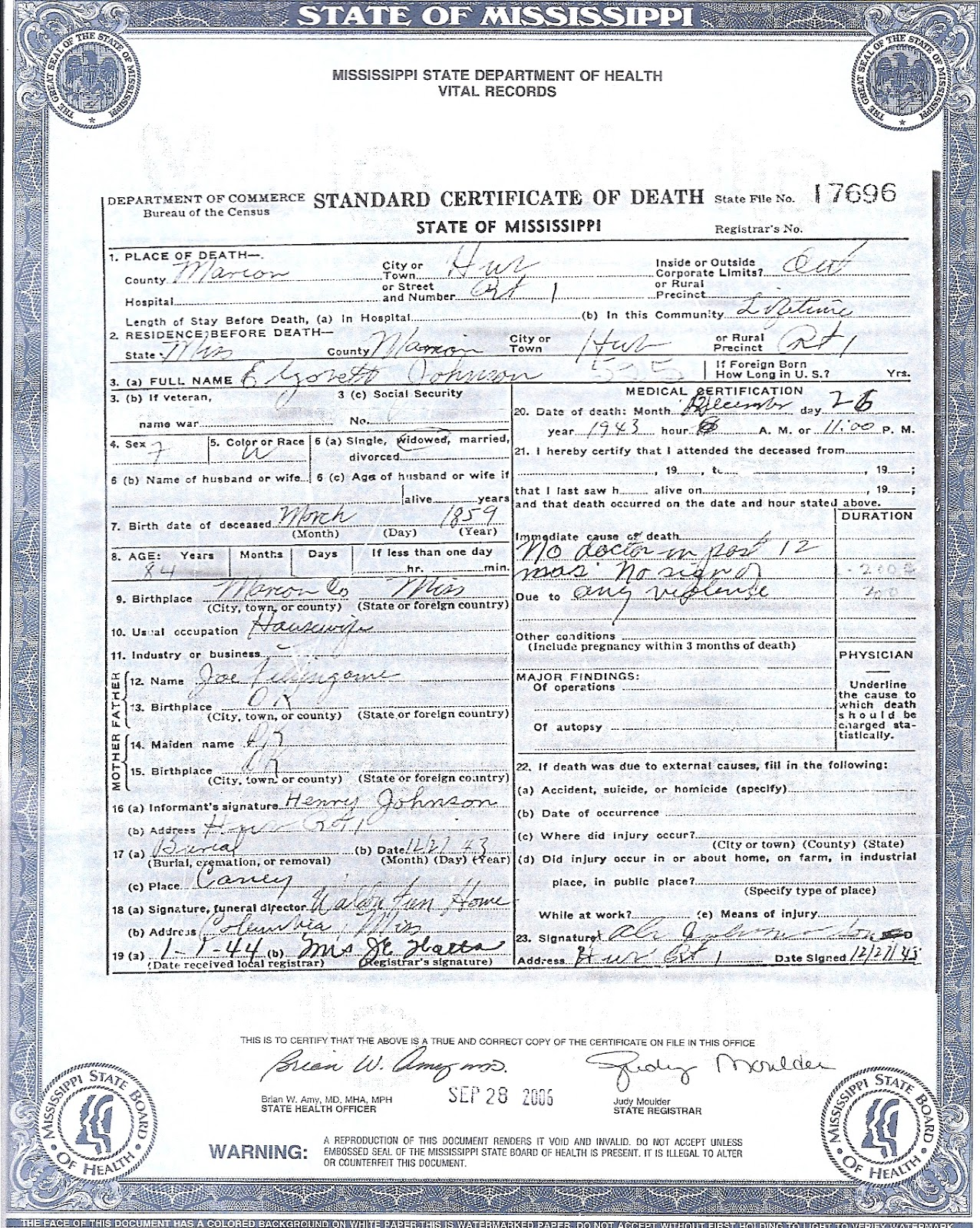 The family snoop july 2012 death certificate elizabeth johnson xflitez Images