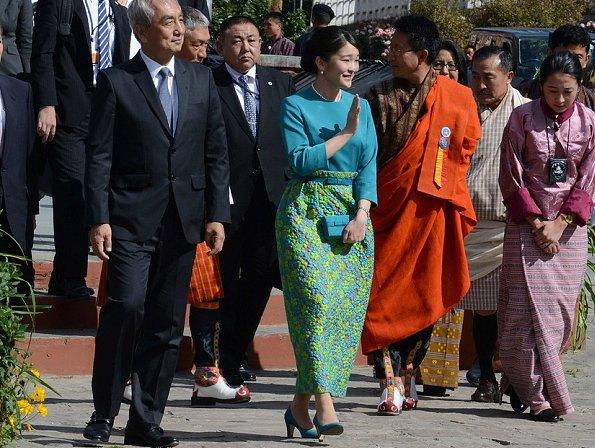 Princess Mako, King Jigme Khesar Namgyel Wangchuck,  Queen Jetsun Pema, Prince Jigme Namgyel Wangchuck at the Tashichhodzong in Thimpu