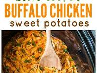 Healthy Slow Cooker Buffalo Chicken Sweet Potatoes