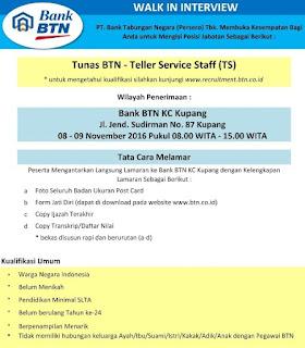 Lowongan Kerja BUMN Bank Tingkat SMA Bank BTN (Persero) Wilayah Kupang