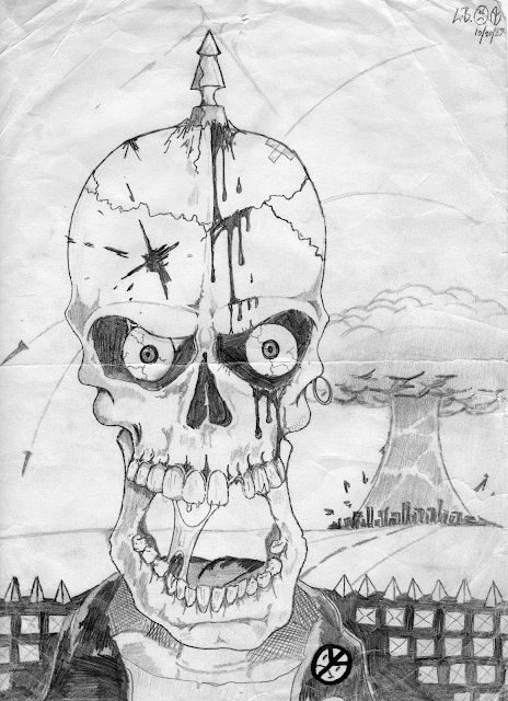 "Throwback Art - 19871020 ""From the Halls of Bethel High"" - Skull"
