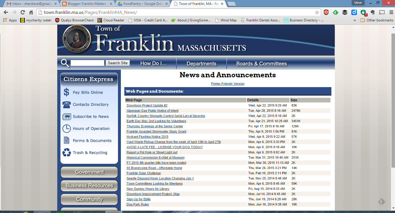 Franklin news and announcements