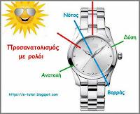 Προσανατολισμός με αναλογικό ρολόι - by https://e-tutor.blogspot.gr