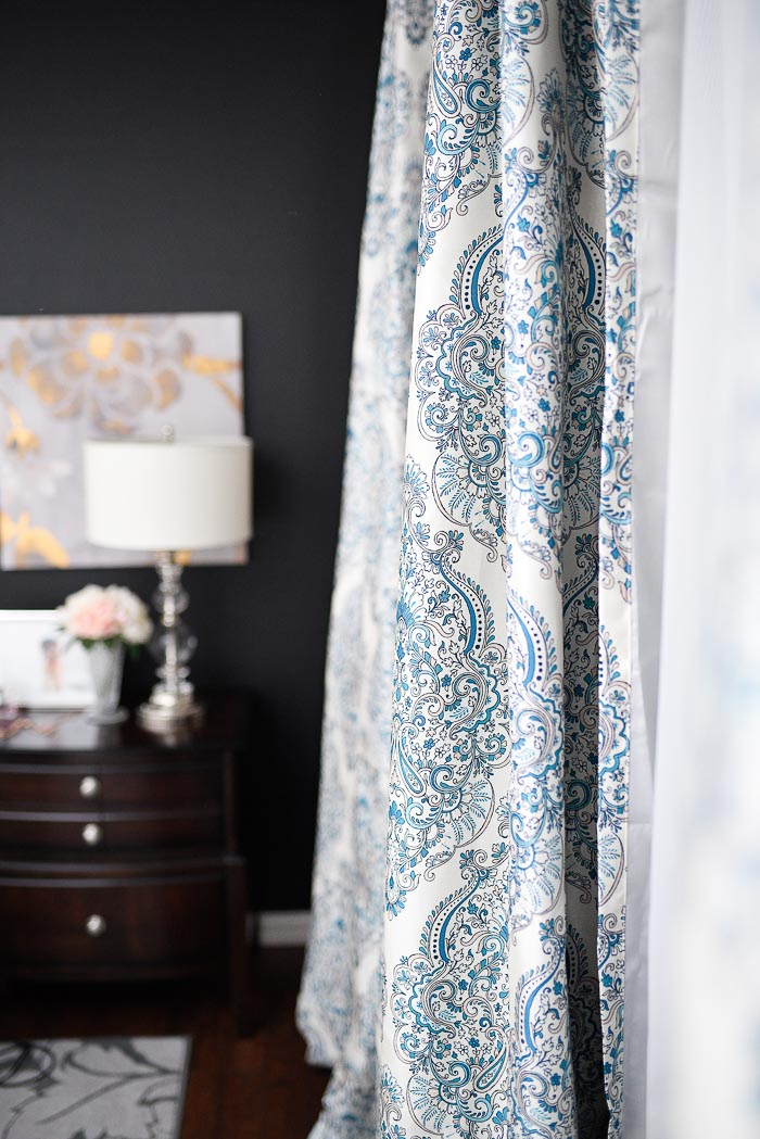 Modern Farmhouse Living Room Curtains Flooring Navy & White Master Bedroom Refresh   Monica Wants It