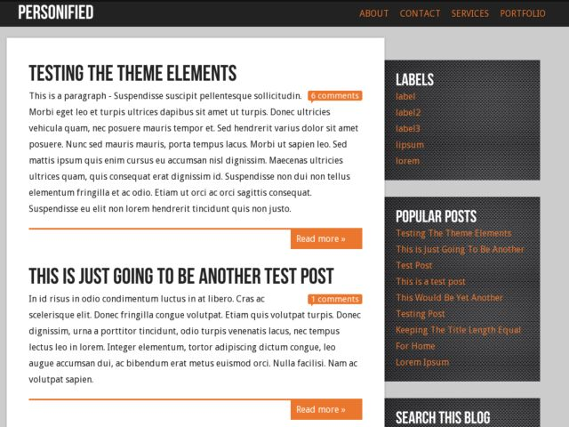 Personified Blogger Template