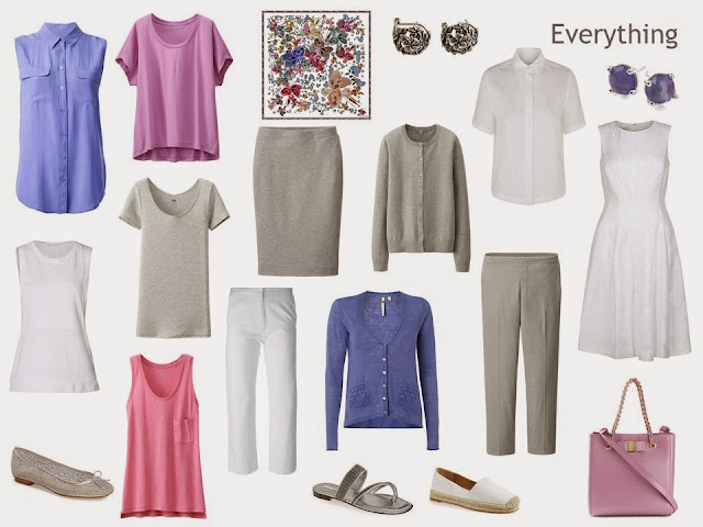 A 12-piece travel or capsule wardrobe in grey, white, pink and purple.