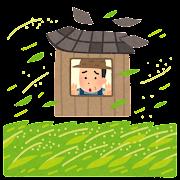 自然災害の心配をする米農家のイラスト
