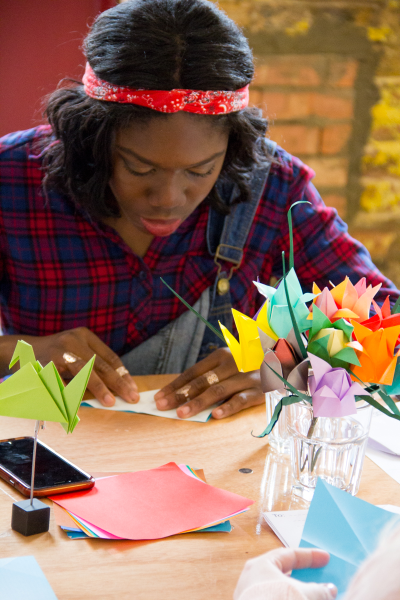 viking arty party lumiere london - 100 Ways to 30, origami, mindFåOLDness origami workshop, mindful origami, origami workshop, heather chambers UK fashion & lifestyle blogger, blog event, crafts