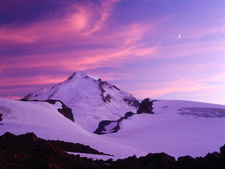 dağ manzaralı gün batımı kış resimleri